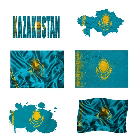 Kazakhstan flag and map in different styles in different textures photo