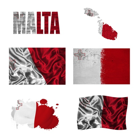 malta flag: Malta flag and map in different styles in different textures