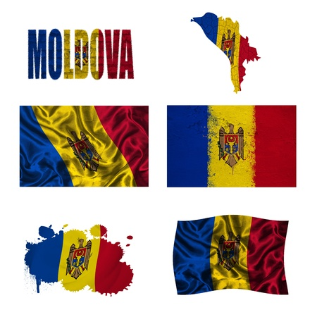 Moldova flag and map in different styles in different textures photo