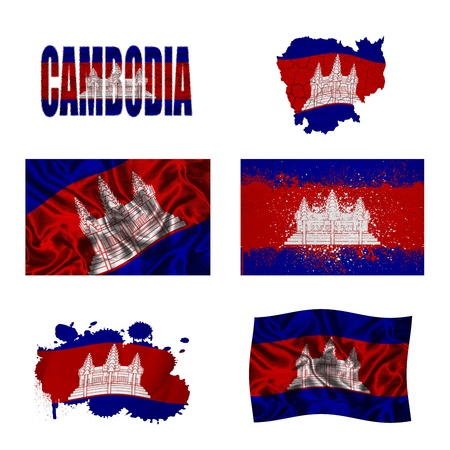 cambodian flag: Cambodia flag and map in different styles in different textures