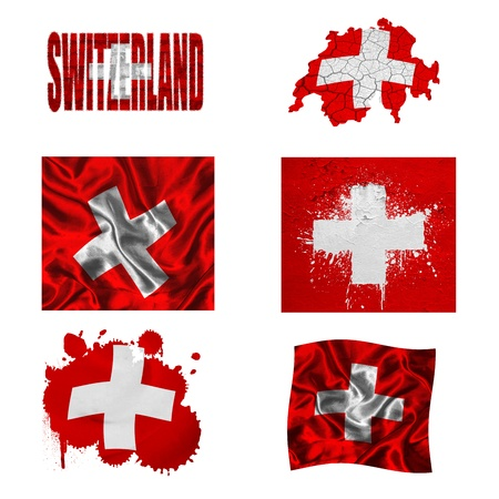 Switzerland flag and map in different styles in different textures photo