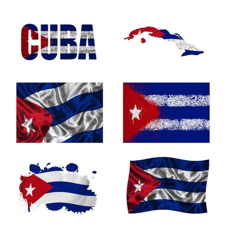 Cuba flag and map in different styles in different textures photo