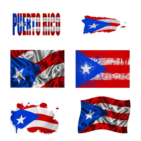 Puerto Rico flag and map in different styles in different textures photo