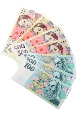 Different czech crowns banknotes on a plain surface Stock Photo