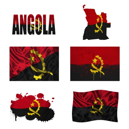map of angola: Angola flag and map in different styles in different textures