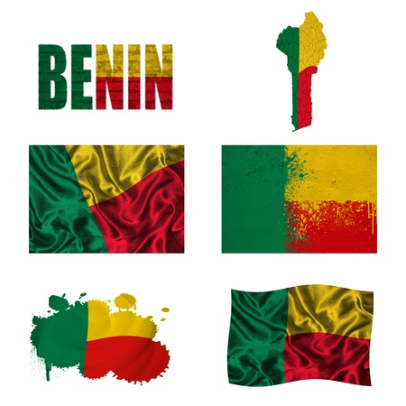 Benin flag and map in different styles in different textures photo