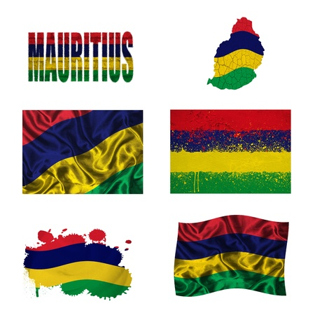 mauritius: Mauritius flag and map in different styles in different textures Stock Photo