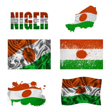niger: Niger flag and map in different styles in different textures Stock Photo