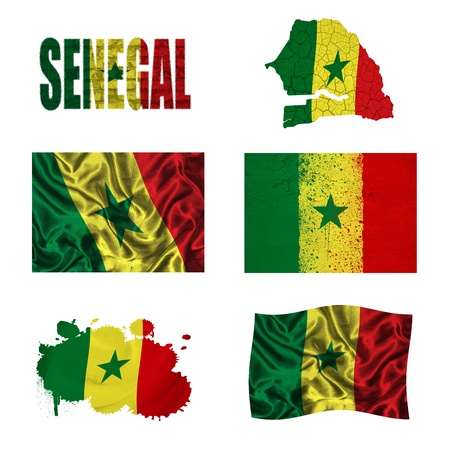 Senegal flag and map in different styles in different textures