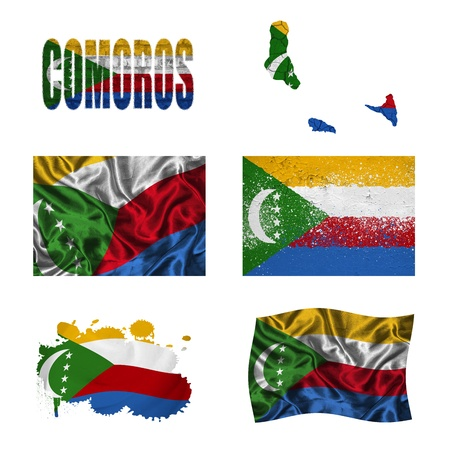 comoros: Comoros flag and map in different styles in different textures