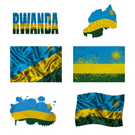 rwanda: Rwanda flag and map in different styles in different textures Stock Photo