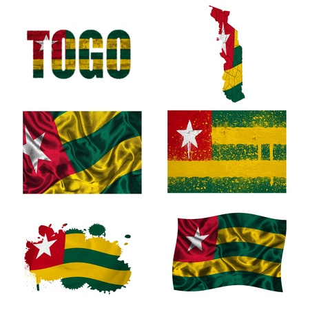 togo: Togo flag and map in different styles in different textures