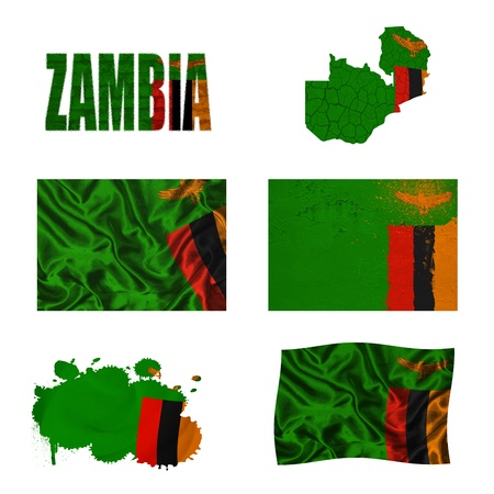 zambian: Zambia flag and map in different styles in different textures Stock Photo