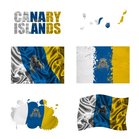 Canary Islands flag and map in different styles in different textures photo