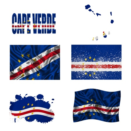 Cape Verde flag and map in different styles in different textures photo
