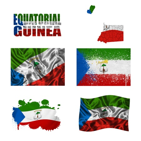 Equatorial Guinea flag and map in different styles in different textures photo
