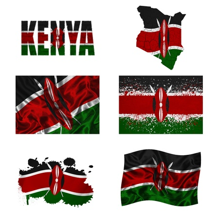 Kenya flag and map in different styles in different textures photo