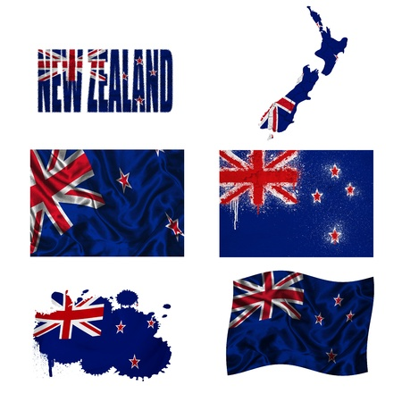 new zealand word: New Zealand flag and map in different styles in different textures