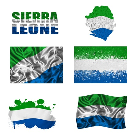 Sierra Leone flag and map in different styles in different textures