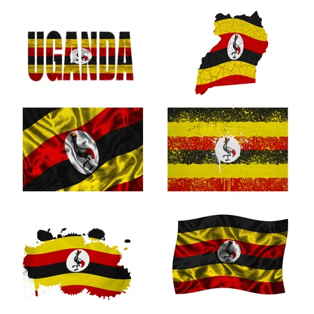 uganda: Uganda flag and map in different styles in different textures