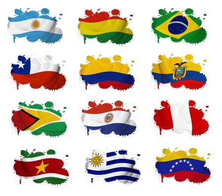South America countries flag blots on a white background photo