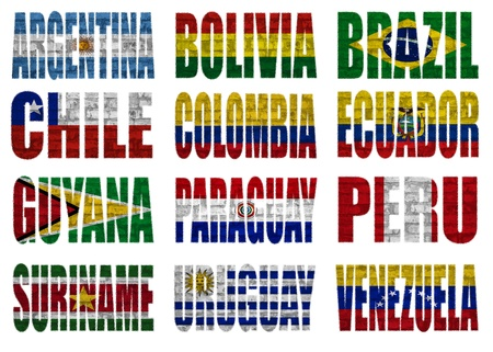 latin  america: South America countries flag words on a white background Stock Photo