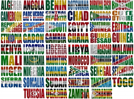 Africa countries flag words on a white background photo