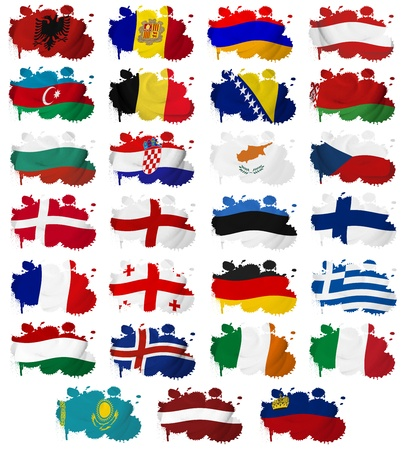 Europe countries  From A to L  flag blots on a white background photo