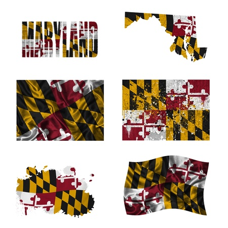 maryland flag: Maryland flag and map in different styles in different textures