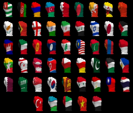 National flag fists of all Asia countries on a black background photo