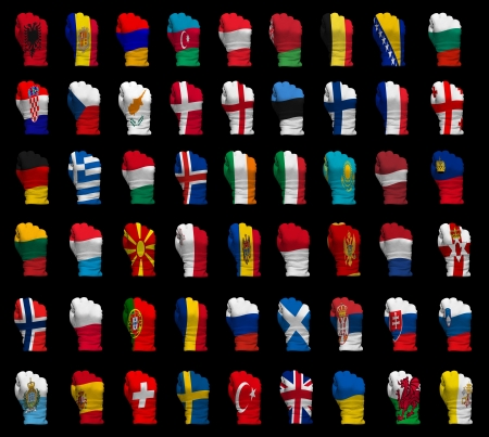 National flag fists of all Europe countries on a black background photo