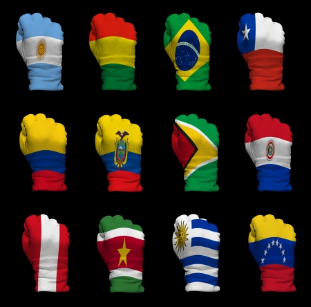 National flag fists of all South America  countries on a black background photo