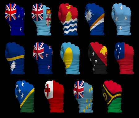 vanuatu: National flag fists of all Oceania countries on a black background Stock Photo