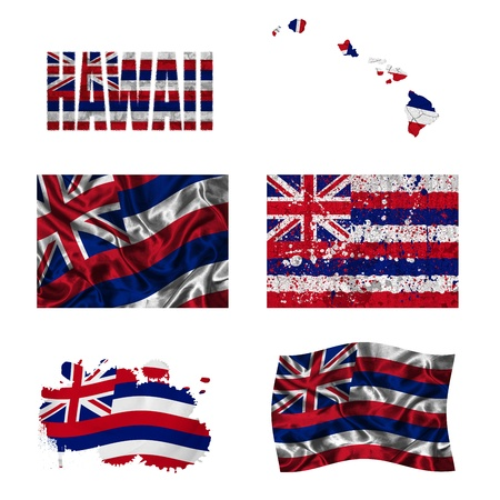 demonstrate: Hawaii flag and map in different styles in different textures Stock Photo