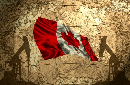 fuel provider: Canada flag on the background of the world map with oil derricks and money