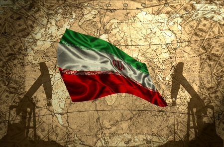 fuel provider: Iran flag on the background of the world map with oil derricks and money Stock Photo
