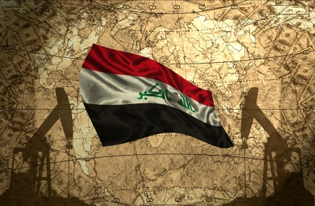 fuel provider: Iraq flag on the background of the world map with oil derricks and money Stock Photo