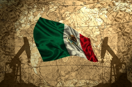 Mexico flag on the background of the world map with oil derricks and money