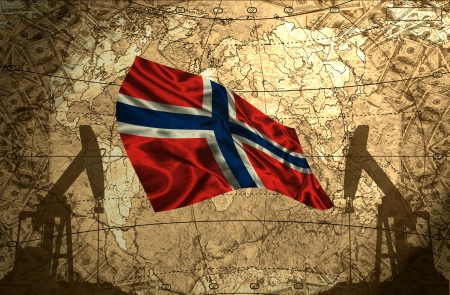 fuel provider: Norway flag on the background of the world map with oil derricks and money Stock Photo