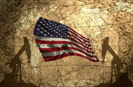 fuel provider: USA flag on the background of the world map with oil derricks and money