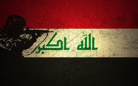 iraq conflict: A silhouette of a soldier on the Grunge Iraqi Flag