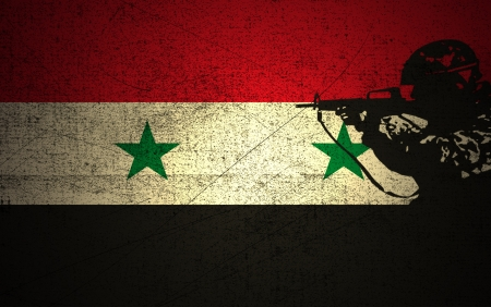 syria peace: A silhouette of a soldier on the Grunge Syrian Flag