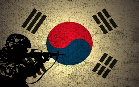 A silhouette of a soldier on the Grunge South Korea Flag
