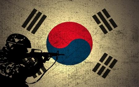 Een silhouet van een soldaat op de Grunge Vlag van Zuid-Korea