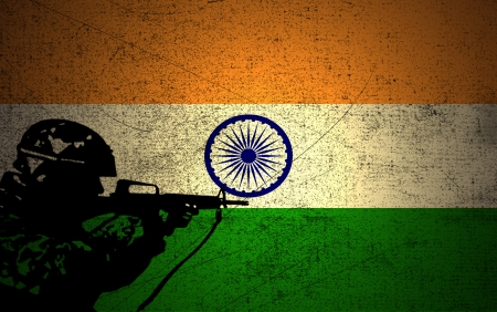 A silhouette of a soldier on the Grunge Indian Flag