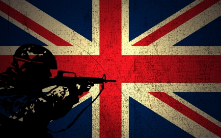 A silhouette of a soldier on the Grunge  British Flag photo