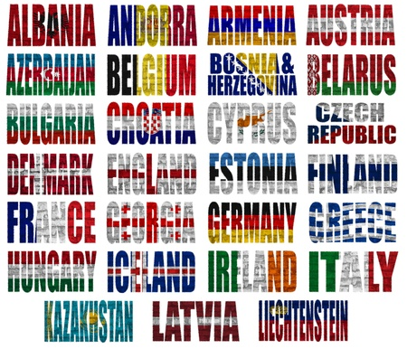 Europe countries (From A to L) flag words on a white background Stok Fotoğraf