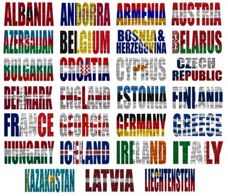 Europese landen (Van A tot L) flag woorden op een witte achtergrond