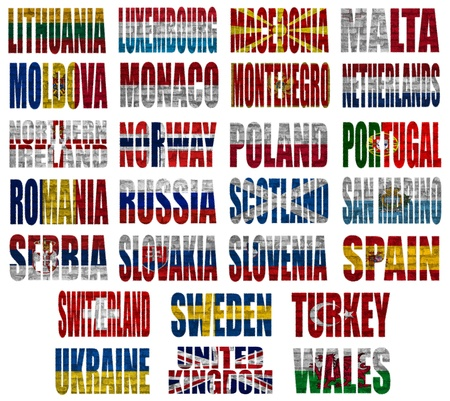 Europe countries (From L to W) flag words on a white background photo