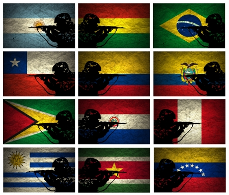A silhouette of a soldier on the Grunge South America Countries Flags photo